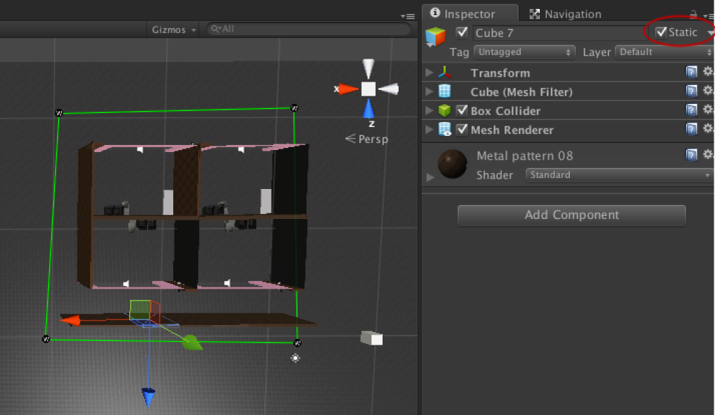 Marking static objects as static. You can select multiple objects and mark them static by click static (all possible features are marked as static, but if you have transparent objects etc. and you want to bake lights/occlusion, you need to use pop-up to define correct set of static features for, e.g., the object having transparencies).
