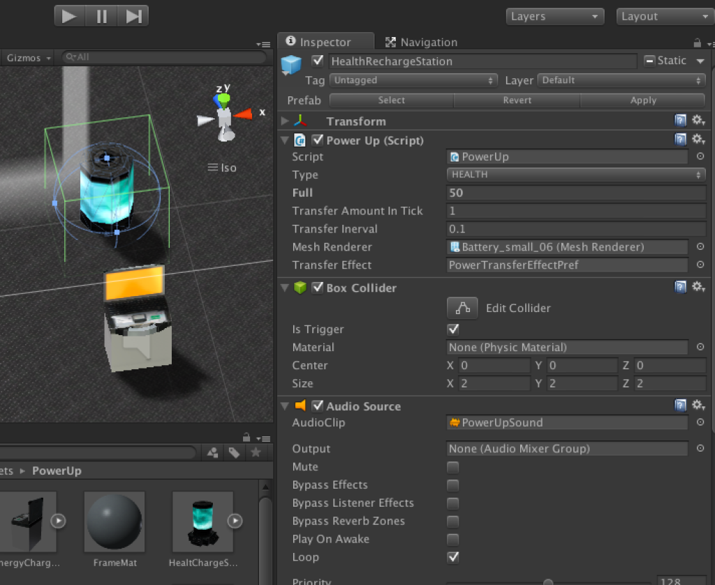 Power recharging station object & PowerUp script setup